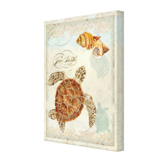 Green Sea Turtle Coastal Beach - Watercolor Art Canvas Print