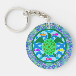 Green Sea Turtle Double-Sided Round Acrylic Keychain