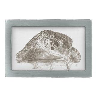 Green Sea Turtle Drawing Rectangular Belt Buckle