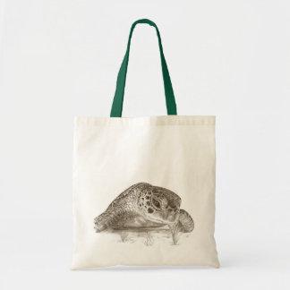 Green Sea Turtle Drawing Tote Bag