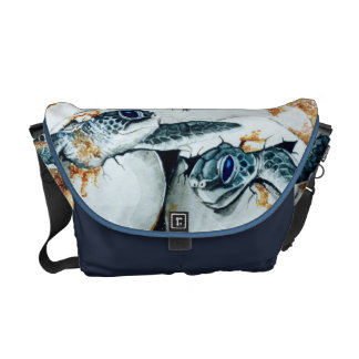 Green Sea Turtle (Honu) Hatchlings Messenger Bag