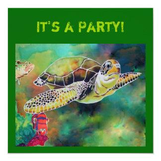 Green Sea Turtle Invitation Card