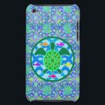 "Green Sea Turtle iPod Touch Case<br><div class=""desc"">A green sea turtle with patterned shell,  against a blue water/wave pattern,  with several colorful fish. Circular design with a green border. Sea turtle art.</div>"