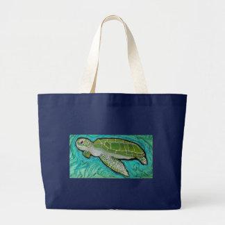 Green Sea Turtle Large Tote Bag