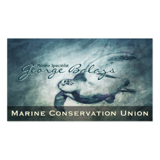 Green Sea Turtle / Marine Resource Conservation Double-Sided Standard Business Cards (Pack Of 100)