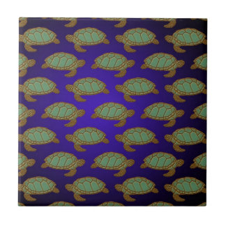 Green Sea Turtle Pattern on Blue Ceramic Tile
