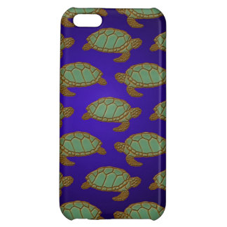 Green Sea Turtle Pattern on Blue iPhone 5C Covers
