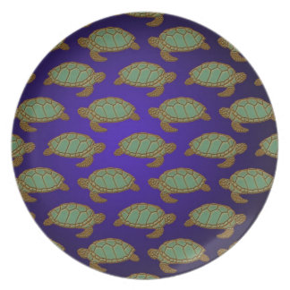 Green Sea Turtle Pattern on Blue Party Plate