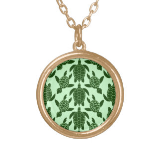 Green Sea Turtle Pretty Animal Pattern Gold Plated Necklace