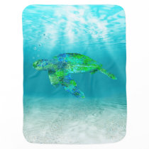Green Sea Turtle Receiving Blanket