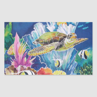 Green Sea Turtle Rectangular Sticker