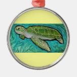 Green Sea Turtle Round Metal Christmas Ornament