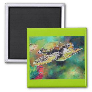 Green Sea Turtle Silk Painting Magnet