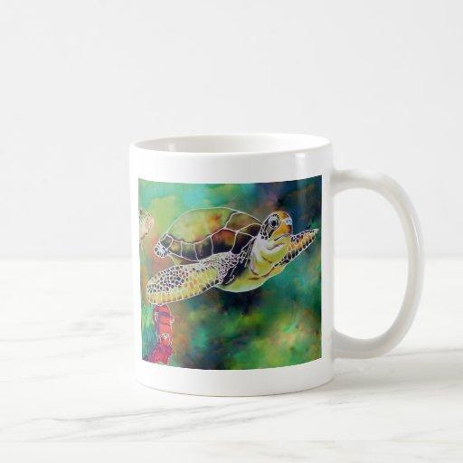 Green Sea Turtle Silk Painting Classic White Coffee Mug