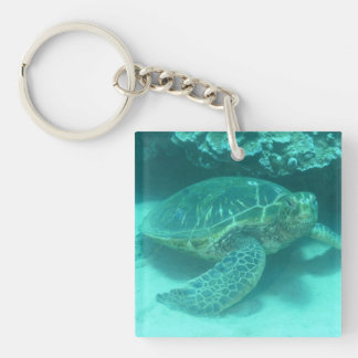 Green Sea Turtle Single-Sided Square Acrylic Keychain