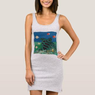 Green Sea Turtle Sleeveless Dress