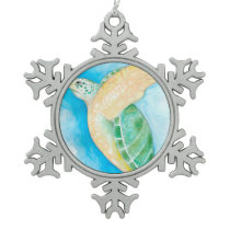Green Sea Turtle Snowflake Pewter Christmas Ornament