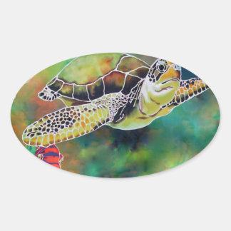 Green Sea Turtle Oval Sticker