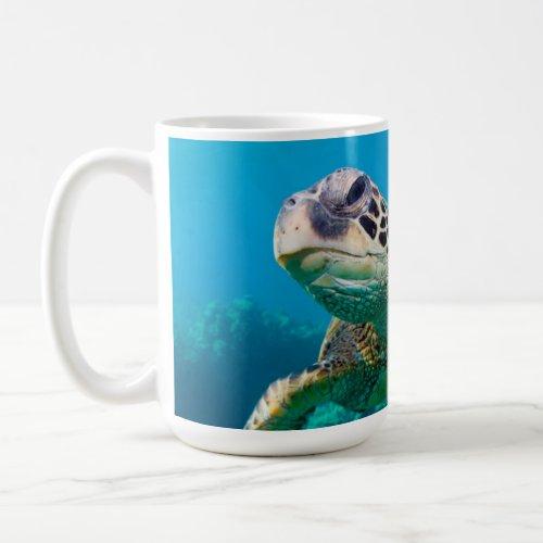 Green Sea Turtle Swimming Over Coral Reef Hawaii Coffee Mug
