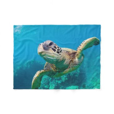 welcomeaboard Green Sea Turtle Swimming Over Coral Reef |Hawaii Fleece Blanket