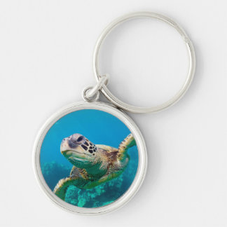 Green Sea Turtle Swimming Over Coral Reef |Hawaii Keychain