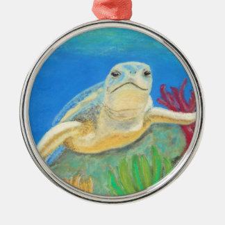 Green Sea Turtle Swimming the Reef Metal Ornament
