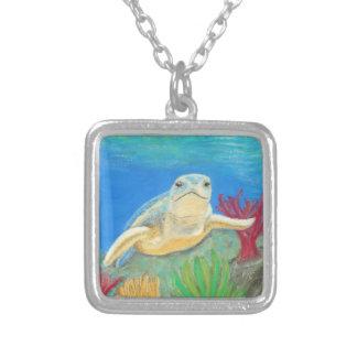 Green Sea Turtle Swimming the Reef Square Pendant Necklace