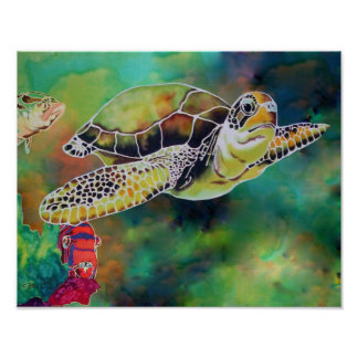 "Green Sea Turtle Tortoise Print ""La Tortue"""