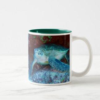 Green Sea Turtle Underwater Two-Tone Coffee Mug