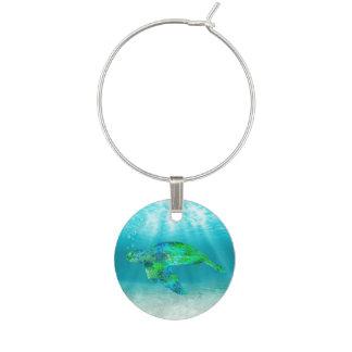 Green Sea Turtle Wine Glass Charm