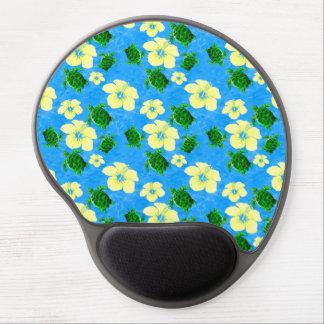 Green Sea Turtles Hawaiian Floral Design Gel Mouse Pad