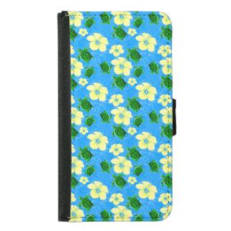 Green Sea Turtles Hawaiian Floral Design Wallet Phone Case For Samsung Galaxy S5