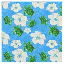 Green Sea Turtles Hawaiian Floral Pattern Fabric