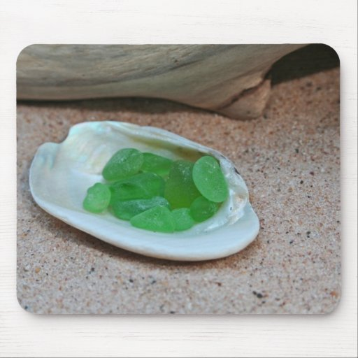 Green Seaglass Mouse Pads