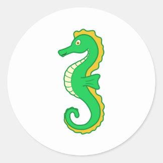 Green Seahorse Classic Round Sticker