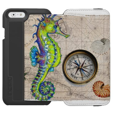 Green Seahorse Compass iPhone 6/6s Wallet Case