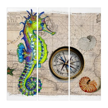 Art Themed Green Seahorse Compass Triptych