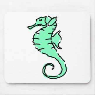 Green Seahorse Mouse Pads