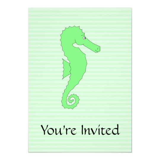 Green Seahorse on Light Green Stripes. Card