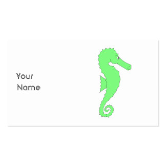 Green Seahorse on White Business Card Templates