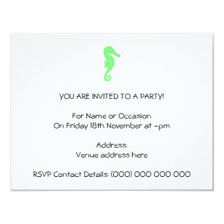 Green Seahorse on White Card