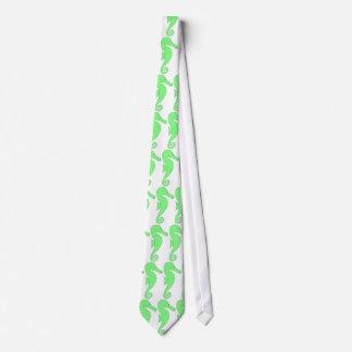 Green Seahorse on White Neck Tie