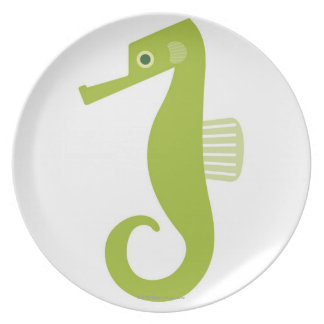 Green Seahorse Plate