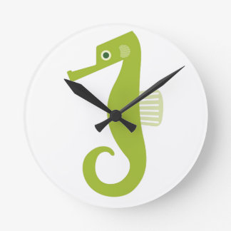 Green Seahorse Round Clock
