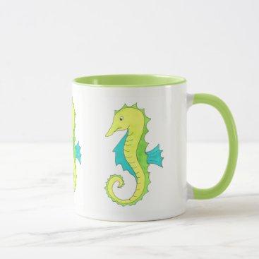 Beach Themed Green Seahorse Sea Horse Beach Ocean Marine Life Mug