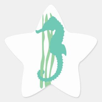 Green Seahorse with Sea Grass Star Sticker