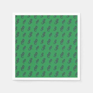 Green seahorses paper napkin