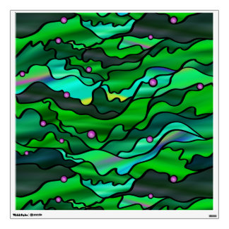 Green Seascape Stained Glass Abstract Wall Decal