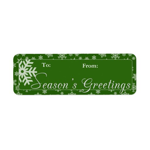 Green Season's Greetings Gift Tag Return Address Labels