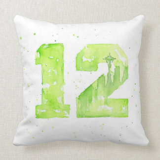 Green Seattle Watercolor 12 Painting Pillows